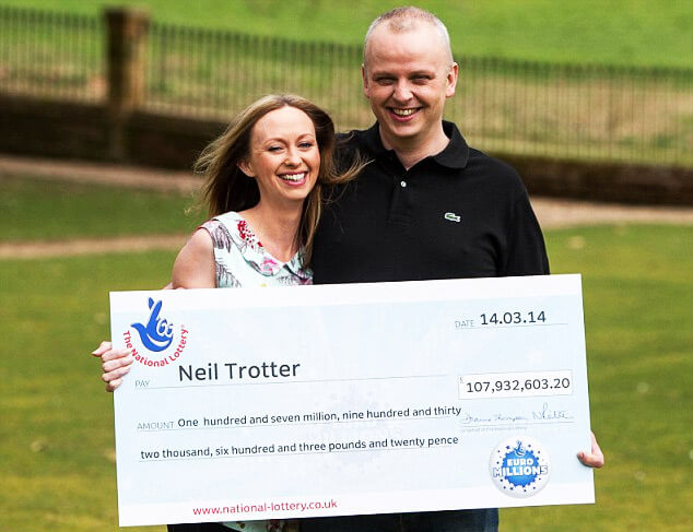 Neil Trotter with partner - Winner of Euromllions super draw