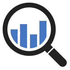 magnifying glass and statistic columns