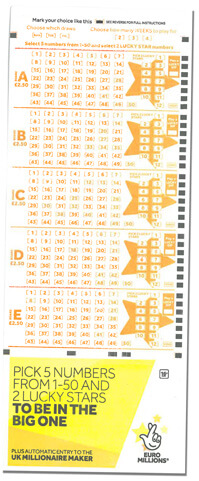 UK Euromillions lottery paper ticket