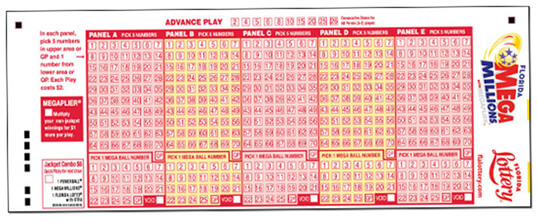 USA Megamillions lottery play slip